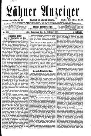Lähner Anzeiger vom 10.09.1908