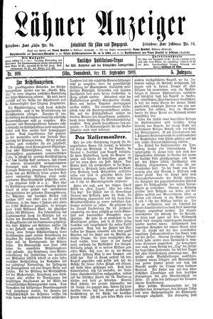 Lähner Anzeiger on Sep 12, 1908