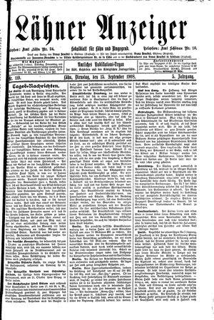 Lähner Anzeiger vom 15.09.1908