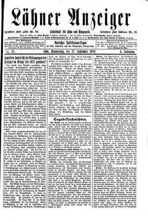 Lähner Anzeiger vom 17.09.1908