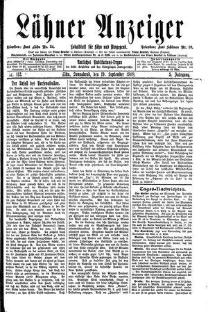 Lähner Anzeiger vom 19.09.1908
