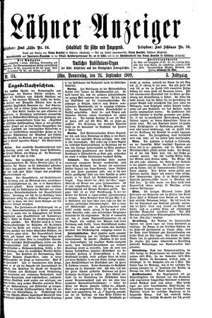 Lähner Anzeiger vom 24.09.1908