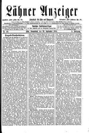 Lähner Anzeiger vom 26.09.1908
