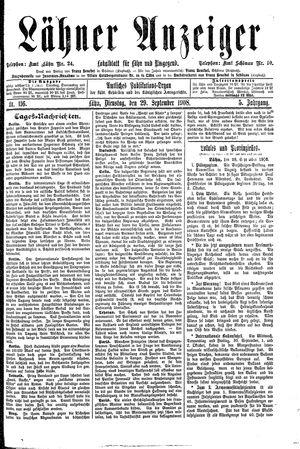 Lähner Anzeiger vom 29.09.1908