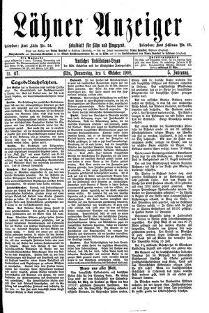 Lähner Anzeiger vom 01.10.1908
