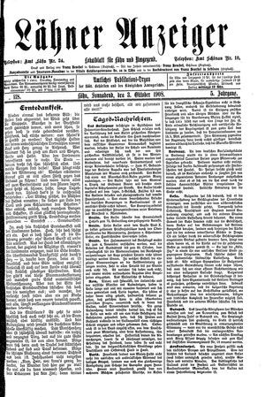 Lähner Anzeiger vom 03.10.1908