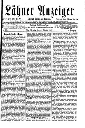 Lähner Anzeiger vom 06.10.1908