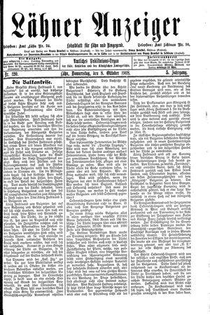 Lähner Anzeiger vom 08.10.1908
