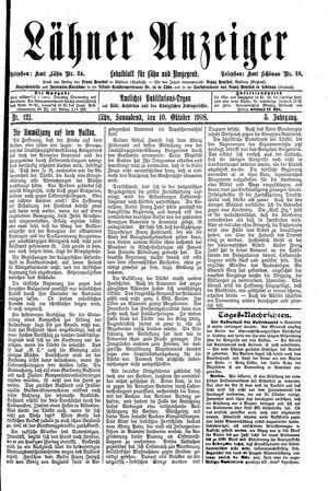 Lähner Anzeiger vom 10.10.1908