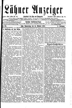 Lähner Anzeiger vom 15.10.1908