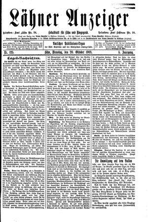 Lähner Anzeiger vom 20.10.1908