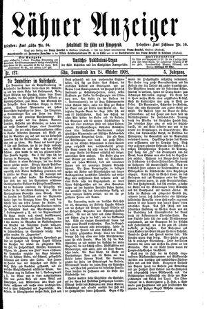 Lähner Anzeiger vom 24.10.1908