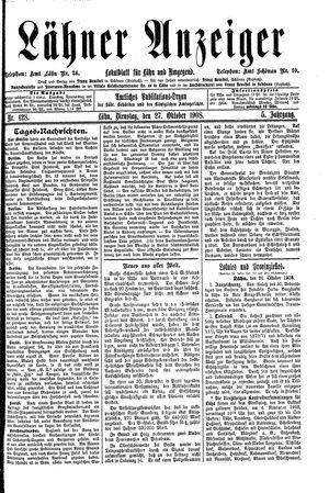 Lähner Anzeiger vom 27.10.1908