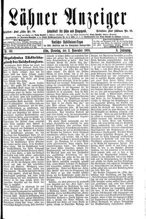 Lähner Anzeiger on Nov 3, 1908