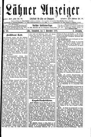 Lähner Anzeiger vom 07.11.1908