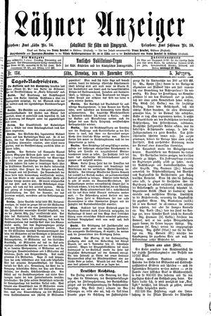 Lähner Anzeiger vom 10.11.1908
