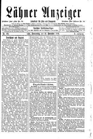 Lähner Anzeiger on Nov 12, 1908