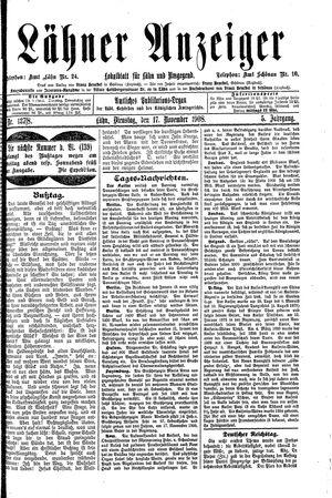 Lähner Anzeiger on Nov 17, 1908