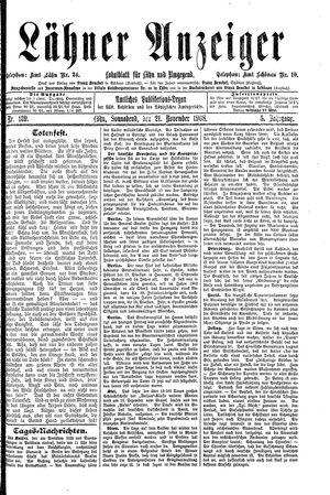 Lähner Anzeiger vom 21.11.1908