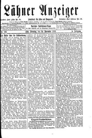 Lähner Anzeiger vom 24.11.1908