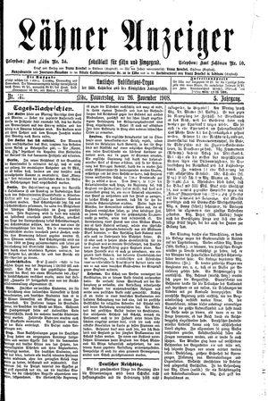 Lähner Anzeiger vom 26.11.1908