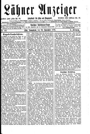 Lähner Anzeiger vom 28.11.1908