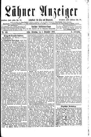 Lähner Anzeiger vom 01.12.1908