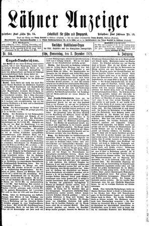 Lähner Anzeiger vom 03.12.1908