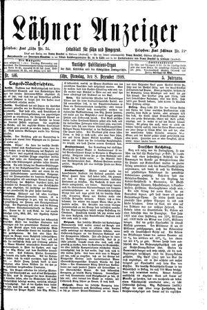 Lähner Anzeiger vom 08.12.1908