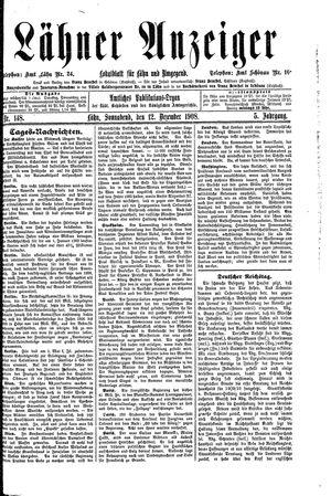 Lähner Anzeiger vom 12.12.1908