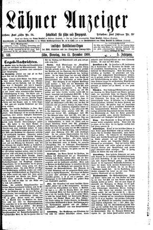 Lähner Anzeiger vom 15.12.1908