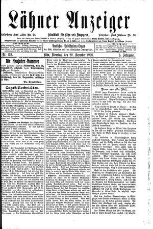 Lähner Anzeiger vom 22.12.1908