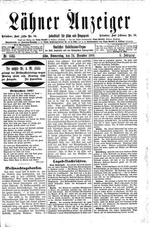 Lähner Anzeiger vom 24.12.1908
