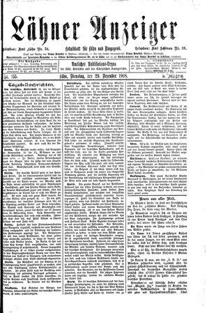 Lähner Anzeiger vom 29.12.1908