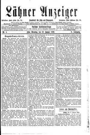 Lähner Anzeiger vom 12.01.1909