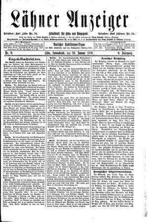 Lähner Anzeiger vom 23.01.1909