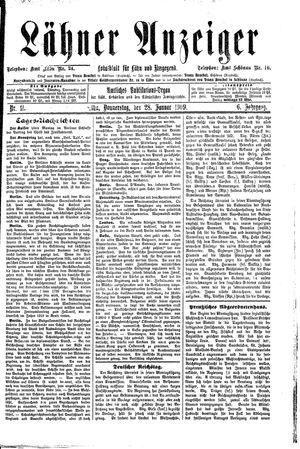Lähner Anzeiger vom 28.01.1909