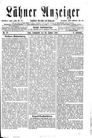 Lähner Anzeiger vom 30.01.1909
