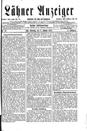 Lähner Anzeiger vom 01.02.1909
