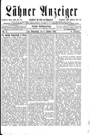 Lähner Anzeiger vom 11.02.1909