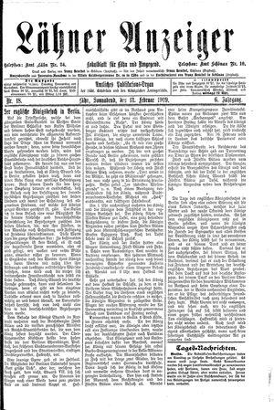 Lähner Anzeiger vom 13.02.1909