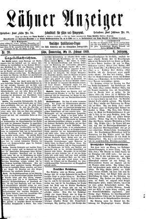 Lähner Anzeiger vom 18.02.1909