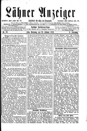 Lähner Anzeiger vom 23.02.1909