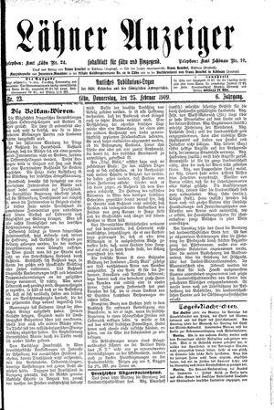 Lähner Anzeiger vom 25.02.1909