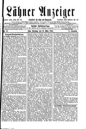 Lähner Anzeiger vom 16.03.1909