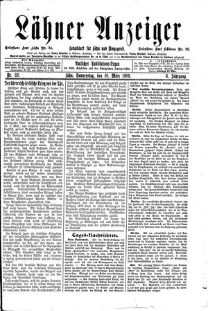 Lähner Anzeiger vom 18.03.1909