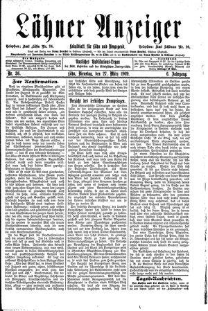 Lähner Anzeiger vom 27.03.1909