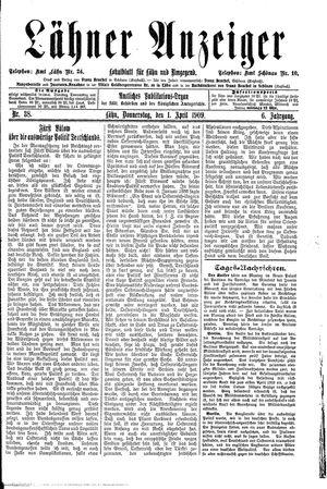 Lähner Anzeiger vom 01.04.1909