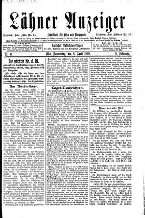 Lähner Anzeiger vom 08.04.1909