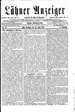 Lähner Anzeiger vom 20.04.1909